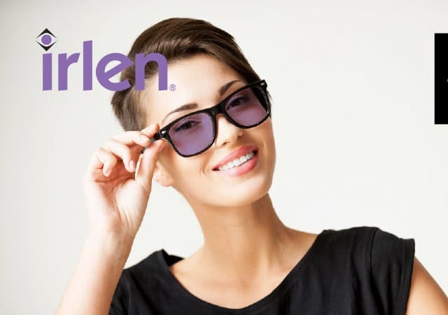 irlen ipswich model wearing purple glasses lense